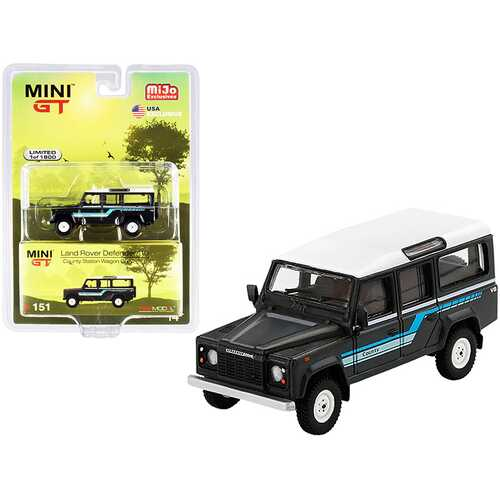 1985 Land Rover Defender 110 County Station Wagon Dark Gray with White Top Limited Edition to 1800 pieces Worldwide 1/64 Diecast Model Car by True Scale Miniatures