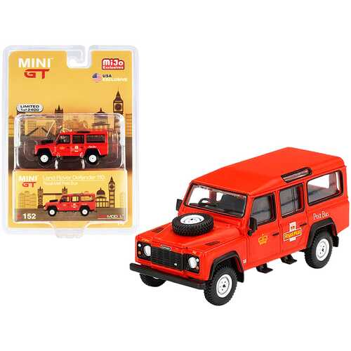 """Land Rover Defender 110 RHD (Right Hand Drive) """"Royal Mail"""" Post Bus Orange Limited Edition to 2400 pieces Worldwide 1/64 Diecast Model Car by True Scale Miniatures"""
