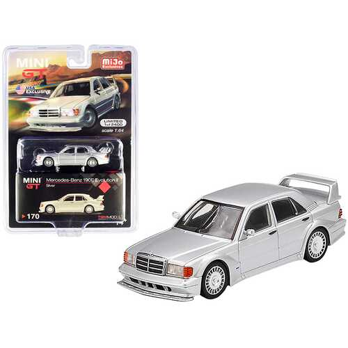 Mercedes Benz 190E Evolution II Silver Limited Edition to 2400 pieces Worldwide 1/64 Diecast Model Car by True Scale Miniatures