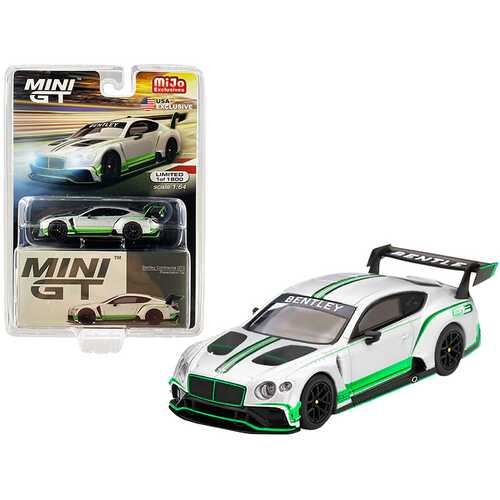 Bentley Continental GT3 RHD (Right Hand Drive) Presentation Car (2018) Silver with Green Stripes Limited Edition to 1800 pieces Worldwide 1/64 Diecast Model Car by True Scale Miniatures