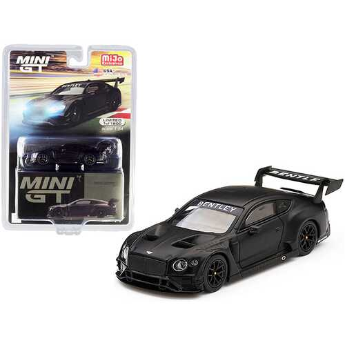 Bentley Continental GT3 RHD (Right Hand Drive) Test Car (2018) Matt Black Limited Edition to 1800 pieces Worldwide 1/64 Diecast Model Car by True Scale Miniatures