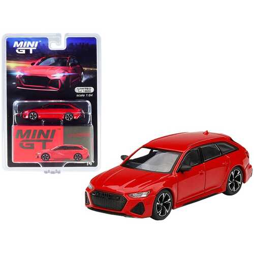 Audi RS 6 Avant Carbon Black Edition Tango Red Limited Edition to 1800 pieces Worldwide 1/64 Diecast Model Car by True Scale Miniatures