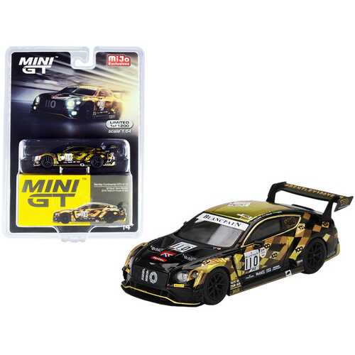 """Bentley Continental GT3 RHD (Right Hand Drive) #110 """"M-Sport Team Bentley"""" Total 24 Hours of Spa (2019) Limited Edition to 1200 pieces Worldwide 1/64 Diecast Model Car by True Scale Miniatu"""
