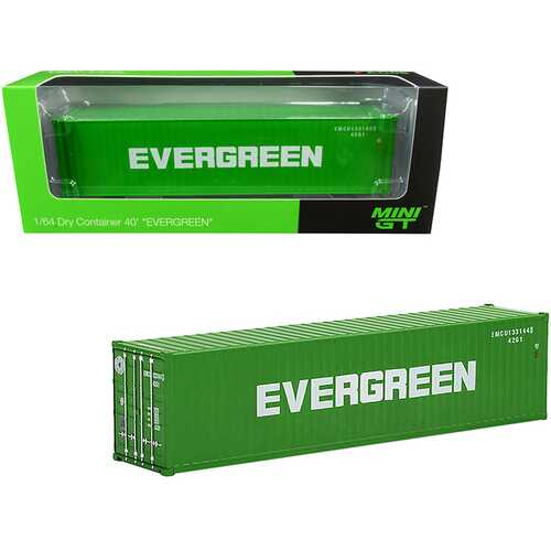 """40' Dry Goods Container """"EverGreen"""" Green 1/64 Diecast Model by True Scale Miniatures"""