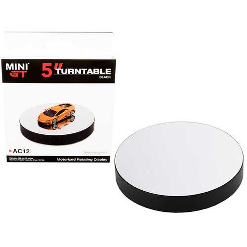 Rotary Display Turntable 5 Inches Black with Mirror Surface for 1/64 Scale Models by True Scale Miniatures
