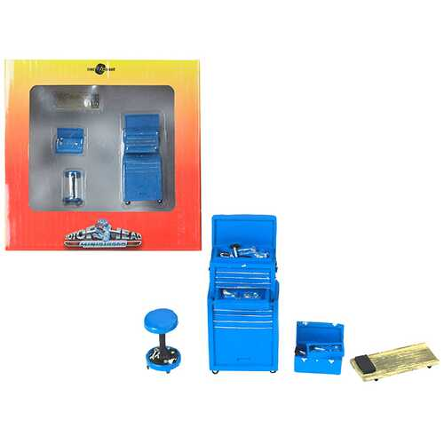 Tire Brigade 4 piece Tool Set Blue 1/24 by Motorhead Miniatures