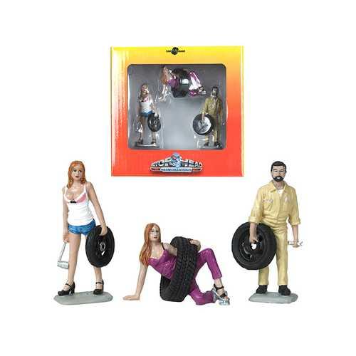 Val, Meg and Gary Tire Brigade 3 piece Figurine Set 1/24 by Motorhead Miniatures