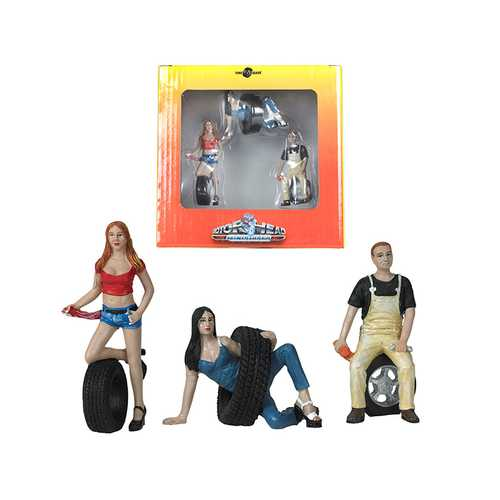 Val, Andie and Derek Tire Brigade 3 piece Figurine Set 1/24 by Motorhead Miniatures