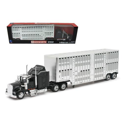Kenworth W900 Pot Belly Livestock Black 1/43 Model by New Ray