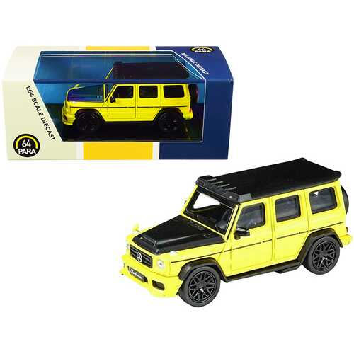 Mercedes AMG G63 Liberty Walk Wagon Bright Yellow with Black Hood and Top 1/64 Diecast Model Car by Paragon