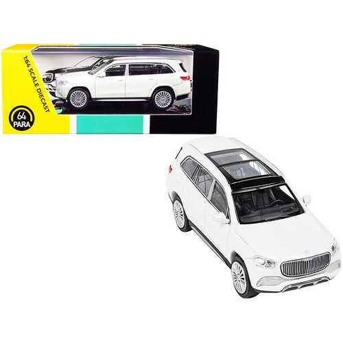 Mercedes-Maybach GLS 600 with Sunroof White Metallic 1/64 Diecast Model Car by Paragon