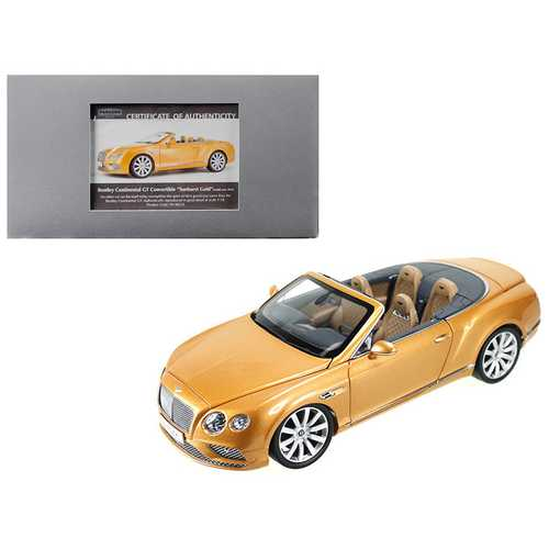 2016 Bentley Continental GT Convertible LHD Sunburst Gold 1/18 Diecast Model Car by Paragon