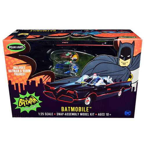 "Skill 2 Snap Model Kit 1966 Batmobile with Batman and Robin Figurines ""Batman"" (1966-1968) Classic TV Series 1/25 Scale Model by Polar Lights"