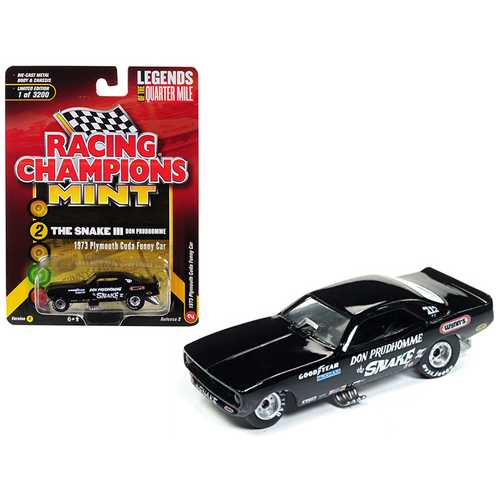 "1973 Plymouth Cuda Funny Car ""The Snake III"" Don Prudhomme Black Limited Edition to 3,200 pieces Worldwide 1/64 Diecast Model Car by Racing Champions"