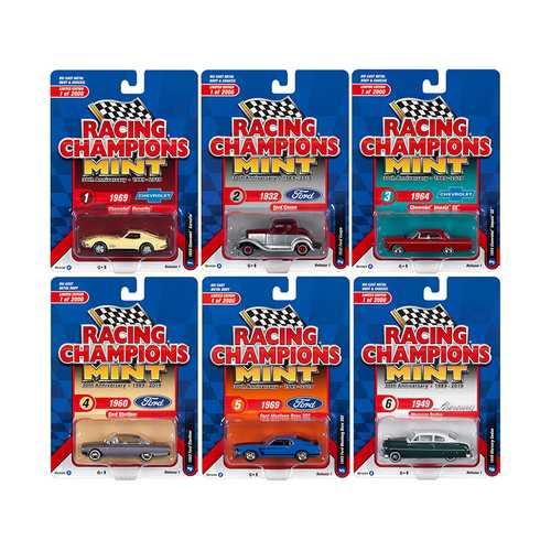 "2019 Mint Release 1 ""30th Anniversary"" (1989-2019) Set B of 6 Cars Limited Edition to 2000 pieces Worldwide 1/64 Diecast Models by Racing Champions"