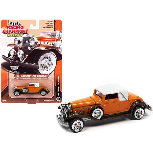 1931 Cadillac V16 Burnt Orange and Brown Metallic with White Top 1/64 Diecast Model Car by Racing Champions
