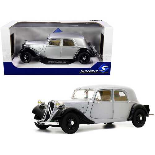 Citroen Traction 11CV Silver and Black 1/18 Diecast Model Car by Solido