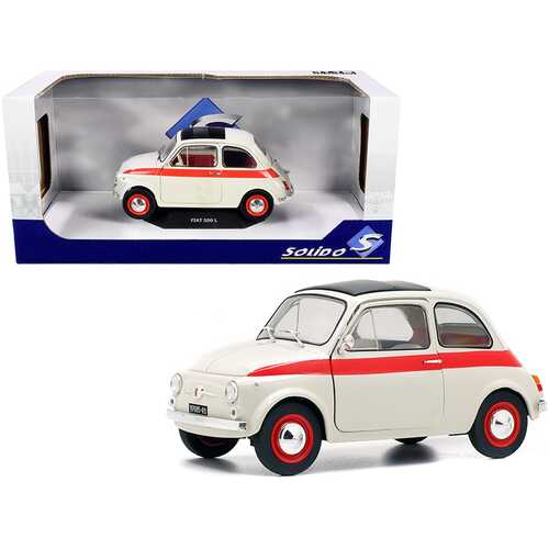 1960 Fiat 500 L Nuova Sport Cream with Red Stripes 1/18 Diecast Model Car by Solido