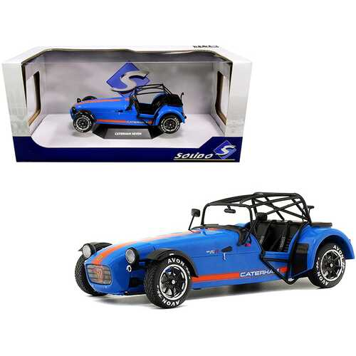 Caterham Seven Academy Blue Metallic with Orange Stripes 1/18 Diecast Model Car by Solido