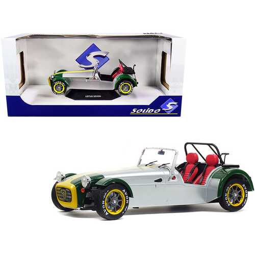 1989 Lotus Seven Silver and Green 1/18 Diecast Model Car by Solido