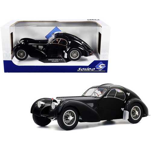 1937 Bugatti Type 57 SC Atlantic RHD (Right Hand Drive) Black 1/18 Diecast Model Car by Solido