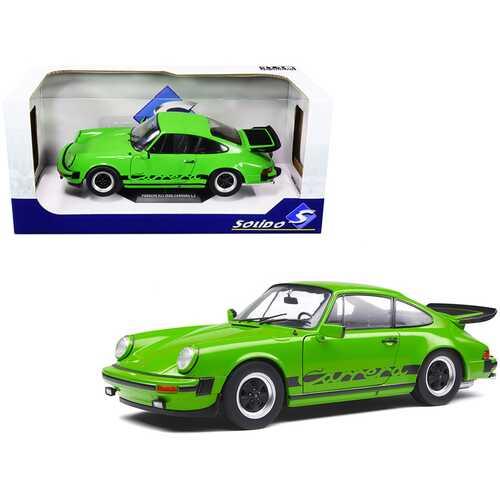 1984 Porsche 911 Carrera 3.2 Bright Green with Black Stripes 1/18 Diecast Model Car by Solido