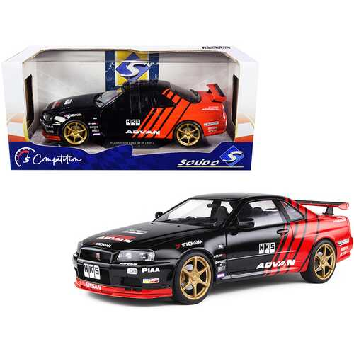 "1999 Nissan Skyline GT-R (R34) RHD (Right Hand Drive) ""Advan"" Black and Red ""Competition"" Series 1/18 Diecast Model Car by Solido"