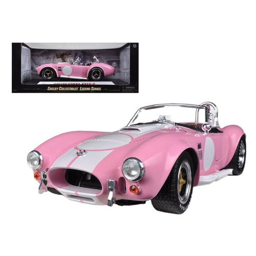 1965 Shelby Cobra 427 S/C Pink with White Stripes with Printed Carroll Shelby Signature's on the Trunk 1/18 Diecast Model Car by Shelby Collectibles