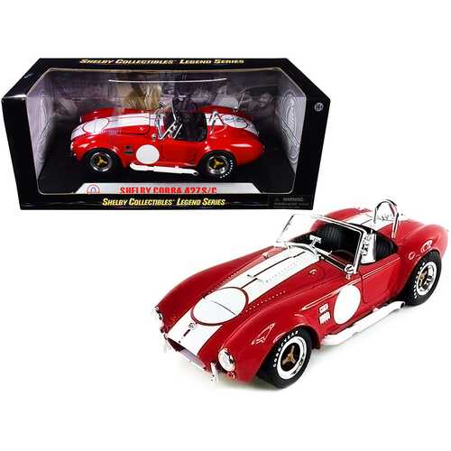 1965 Shelby Cobra 427 S/C Red with White Stripes with Printed Carroll Shelby's Signature on the Trunk 1/18 Diecast Model Car by Shelby Collectibles
