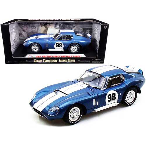 1965 Shelby Cobra Daytona Coupe #98 Blue 1/18 Diecast Model Car by Shelby Collectibles
