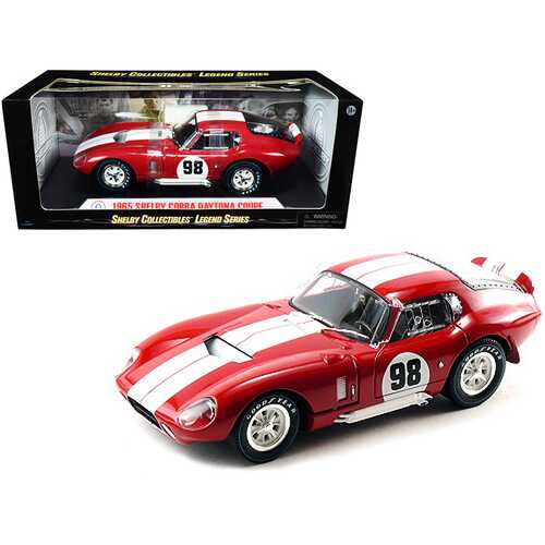 1965 Shelby Cobra Daytona Coupe #98 Red with White Stripes 1/18 Diecast Model Car by Shelby Collectibles