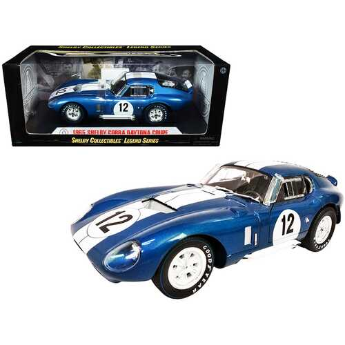 1965 Shelby Cobra Daytona Coupe #12 Blue Metallic with White Stripes 1/18 Diecast Model Car by Shelby Collectibles