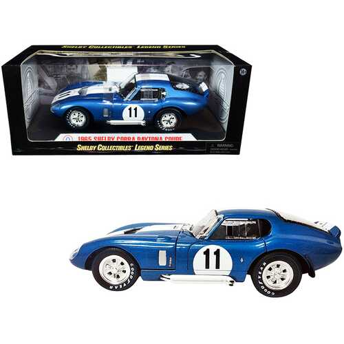 1965 Shelby Cobra Daytona Coupe #11 Blue Metallic with White Stripes 1/18 Diecast Model Car by Shelby Collectibles
