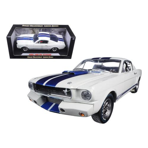 1965 Ford Shelby Mustang GT 350R White with Blue Stripes with Signature 1/18 by Shelby Collectibles