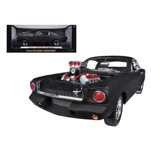 1965 Ford Shelby Mustang GT350R With Racing Engine Matt Black 1/18 Diecast Car Model by Shelby Collectibles