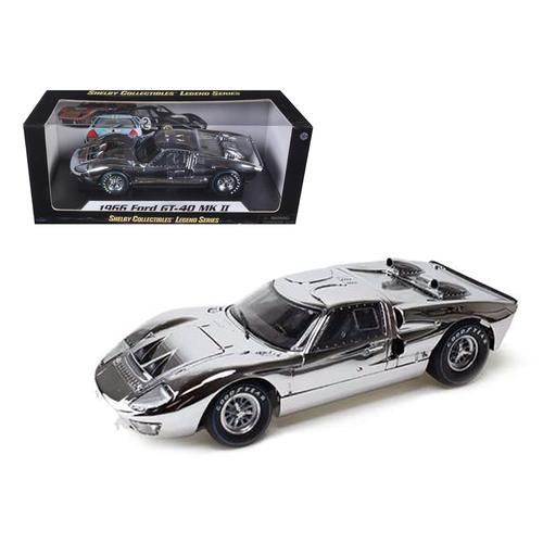 1966 Ford GT40 Chrome Edition Limited to 500pc Worldwide 1/18 Diecast Car Model by Shelby Collectibles