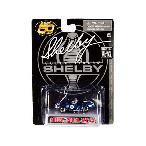 "1965 Shelby Cobra 427 S/C #98 Blue Metallic with White Stripes ""Shelby American 50 Years"" (1962-2012) 1/64 Diecast Model Car by Shelby Collectibles"