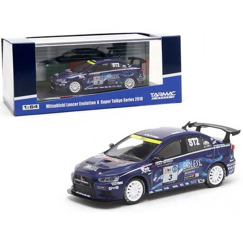 "Mitsubishi Lancer Evolution X #3 Mineo / Murata / Yamauchi ""Super Taikyu"" Series (2010) 1/64 Diecast Model Car by Tarmac Works"