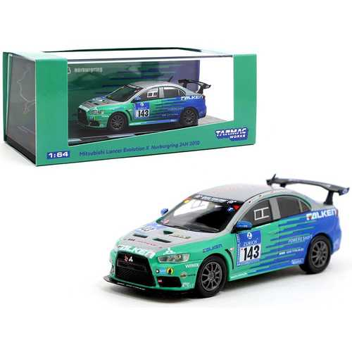 "Mitsubishi Lancer Evolution X #143 Nurburgring 24H (2010) ""Falken Tires"" 1/64 Diecast Model Car by Tarmac Works"