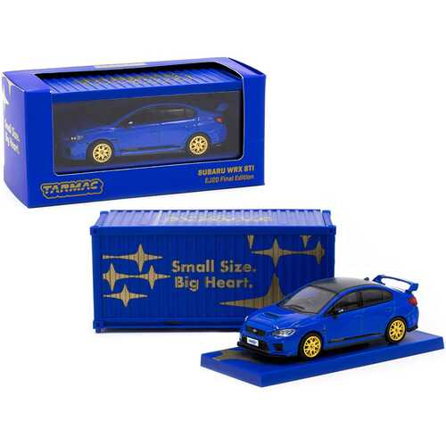 Subaru WRX STi EJ20 Final Edition Blue with Gold Wheels with Container 1/64 Diecast Model Car by Tarmac Works