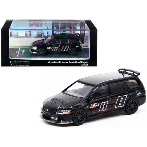 """Mitsubishi Lancer Evolution Wagon RHD (Right Hand Drive) """"Ralliart"""" Black with Graphics 1/64 Diecast Model Car by Tarmac Works"""