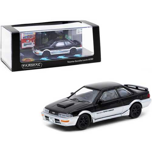 Toyota Corolla Levin AE92 Black and Silver 1/64 Diecast Model Car by Tarmac Works