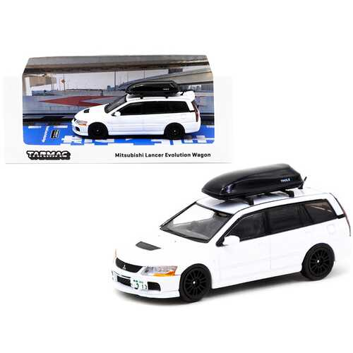 Mitsubishi Lancer Evolution Wagon RHD (Right Hand Drive) with Roof Box White 1/64 Diecast Model Car by Tarmac Works