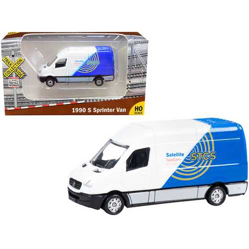 """1990 Mercedes Benz Sprinter Van White and Blue """"STCS Satellite TeleCom Security"""" """"TraxSide Collection"""" 1/87 (HO) Scale Diecast Model by Classic Metal Works"""