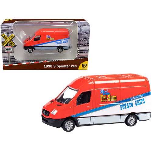 """1990 Mercedes Benz Sprinter Van Red and White """"Tri-Sum Potato Chips"""" """"TraxSide Collection"""" 1/87 (HO) Scale Diecast Model by Classic Metal Works"""
