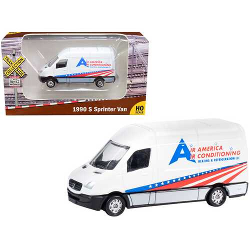 """1990 Mercedes Benz Sprinter Van White """"Air America Air Conditioning Heating & Refrigeration LLC"""" """"TraxSide Collection"""" 1/87 (HO) Scale Diecast Model by Classic Metal Works"""