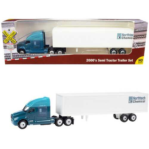 """2000's Semi Tractor Trailer Truck Dark Blue and White """"Northtech Chemical"""" """"TraxSide Collection"""" 1/87 (HO) Scale Diecast Model by Classic Metal Works"""