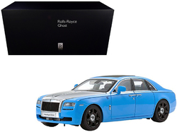 Category: Dropship Die Cast Model Cars And Trucks, SKU #08802LBS, Title: Rolls Royce Ghost Light Blue and Silver 1/18 Diecast Model Car by Kyosho