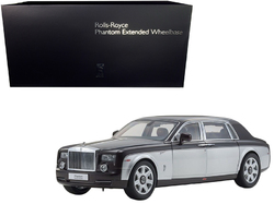 Category: Dropship Die Cast Model Cars And Trucks, SKU #08841DRB, Title: Rolls Royce Phantom Extended Wheelbase Dark Red and Silver 1/18 Diecast Model Car by Kyosho