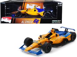 "Dallara Indy Car #66 Fernando Alonso ""Dell Technologies Mindmaze"" McLaren Racing 1/18 Diecast Model Car by Greenlight"